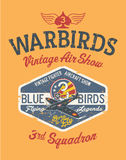 Warbirds aircraft vintage air show. Vector print for boy shirt grunge effect in separate layer vector illustration