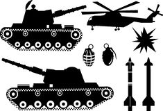 WarBlack. War elements like a war tank, a bomb grenade, missiles, helicopter and explosions Stock Photo
