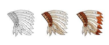 Warbonnet na białym tle Szorstka festiwal czapeczka Konturu ręka rysujący logo ilustracja wektor