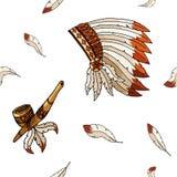Warbonnet no fundo branco Teste padrão sem emenda das penas ásperas do festival ilustração royalty free