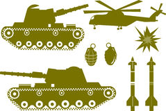 WarColor. War elements like a war tank, a bomb grenade, missiles, helicopter and explosions Royalty Free Stock Images