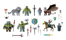 Warcraft Game Icons. May 19, 2016: movie Warcraft. Game playable characters from the game in the movie. Two worlds orc warriors and alliance. Lothar and Durotan Royalty Free Stock Photography