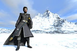 Warden of the North. Fantasy bearded warrior in long fur lined cloak and black leather with long sword in scabbard against snow covered mountains Royalty Free Stock Photography
