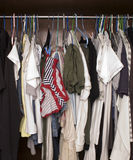 Wardrobe. Messy wardrobe with various clothing Royalty Free Stock Images