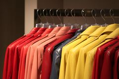 Wardrobe. Colorful wardrobe with some jackets Royalty Free Stock Photography