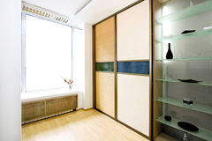 Wardrobe bamboo wide. Double big bamboo closet and glass shelf wide Stock Image