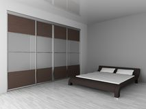 Wardrobe and bed Royalty Free Stock Image
