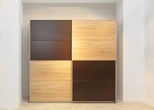 Wardrobe. Big Wardrobe Closet With Wooden Doors in Bedroom royalty free stock image