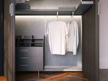 Wardrobe with blank empty t-shirts. 3d rendering Royalty Free Stock Photography