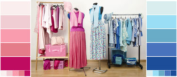 Wardrobe with blue and pink clothes, shoes and accessories with color samples. Stock Images