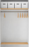 Wardrobe with Boxes and clothes-hangers Royalty Free Stock Images