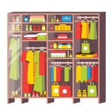 Wardrobe Closet with Drawers and Shelves From Dressing Room Isolated on White. Boxes, Bags, Clothes, Dresses and Shoes. Glass Door. Vector Illustration stock illustration