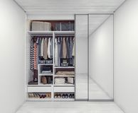 Wardrobe closet full of organized things and bags. 3D Rendering royalty free stock image