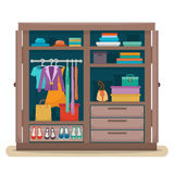 Wardrobe with clothes Royalty Free Stock Images