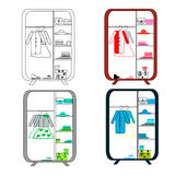 4 wardrobe with clothes in a grotesque style. You can change color and move vector illustration
