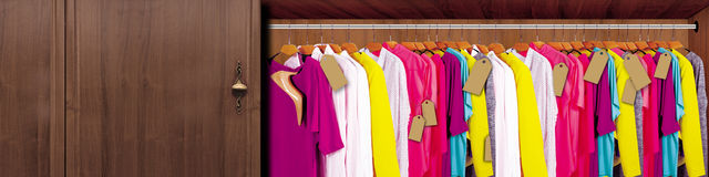 Wardrobe with clothes and shoes. ideal for advertising, cards, creative work Stock Photos