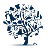 Wardrobe, clothes on tree for your design Stock Image