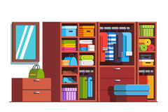 Wardrobe dressing room with big wooden closet. Wardrobe dressing room interior design with big wooden closet furniture full of boxes, bags, clothes, dresses and vector illustration
