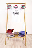 Wardrobe with an empty rack with noting to wear t-shirt. Stock Images