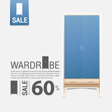 Wardrobe in flat design for home interior. Minimal icon for furniture sale poster. Blue wardrobe on white background. Stock Images
