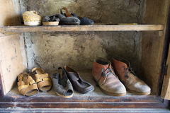 Wardrobe. Full of old shoes Stock Images