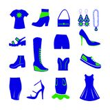 Wardrobe items for women, blue and green. For the sale of clothing, shoes, bags and other accessories, a blue T-shirt with a green star, half boots, winter vector illustration