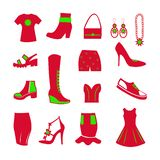 Wardrobe items for women, red and green, icons for websites selling clothes. Shoes, bags and other accessories, T-shirt red with a green flower, boots, winter vector illustration