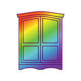 Wardrobe LGBT Open door. Get out of wardrobe gay.  Stock Photo