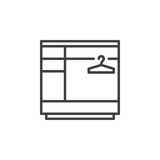 Wardrobe line icon, outline vector sign, linear pictogram isolated on white. Royalty Free Stock Photo
