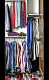 Wardrobe of a man. With ties and casual dressings Royalty Free Stock Images