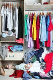 Wardrobe with messy clothes,. Closeup stock images