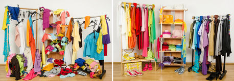 Wardrobe before messy after tidy arranged by colors. Untidy cluttered woman dressing with clothes and accessories vs. closet color coordinated on hangers and Royalty Free Stock Photo