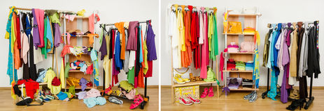 Wardrobe before messy after tidy arranged by colors. Royalty Free Stock Photo