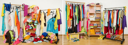 Wardrobe before messy after tidy. Untidy cluttered woman dressing with clothes and accessories vs. closet nicely arranged on hangers and shelf Royalty Free Stock Images