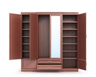 Wardrobe. Open closet with things. 3d illustration royalty free stock photography