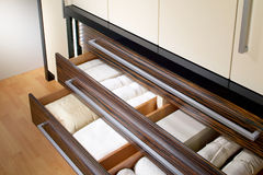 Wardrobe with open drawers. Modern wardrobe with open drawers Stock Image