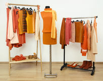 Wardrobe with orange clothes arranged on hangers and an autumn outfit on a mannequin. Royalty Free Stock Photography