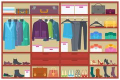 Wardrobe room full of clothes.Flat vector illustration. Wardrobe room full of clothes.Flat style vector illustration Stock Photography