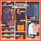 Wardrobe room full of man`s cloths. Flat style  illustration Royalty Free Stock Photos