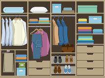 Wardrobe room full of men`s cloths. Flat design Royalty Free Stock Images