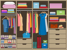 Wardrobe room full of woman`s cloths. Flat style vector illustration. Stock Photos