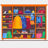 Wardrobe room full of woman s cloths. Vector illustration. Stock Photography