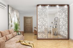 Wardrobe with sliding doors and decor on the mirrors. large room. 3d illustration stock illustration