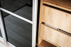 Wardrobe with sliding doors and drawers drawer Stock Photo