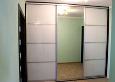 Wardrobe with sliding doors. Furniture. Interior design royalty free stock photo