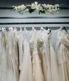 Wardrobe of wedding dresses royalty free stock image