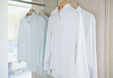 Wardrobe white shirt Royalty Free Stock Photos