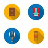 Wardrobe, window with curtains, candlestick, chair.Furniture set collection icons in flat style vector symbol stock Stock Photos