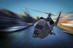WarDrone直升机-在飞行中无人空中车寄生虫 库存图片