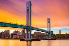 Wards Island Bridge. Crossing the Harlem River between Manhattan Island and Wards Island in New York City Stock Photos